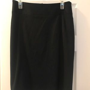 Pinstripe pencil skirt with bottom detail